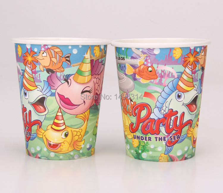 Wholesale-50pcs/lot Children s Day Birthday party supplies Party under the  sea theme party paper cups