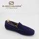 Cow suede leather classic driving moccasins Deep Blue Italian handmade shoes walking