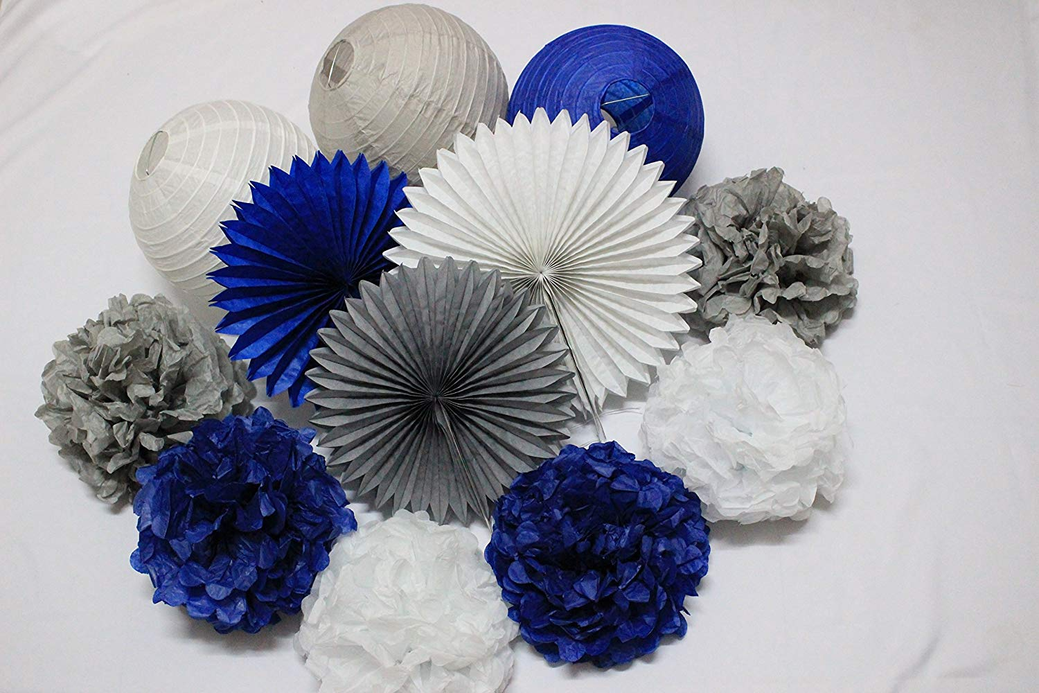 Get Quotations 12pcs Mixed Navy Blue White Grey Tissue Paper Flowers Pom Poms Lanterns And