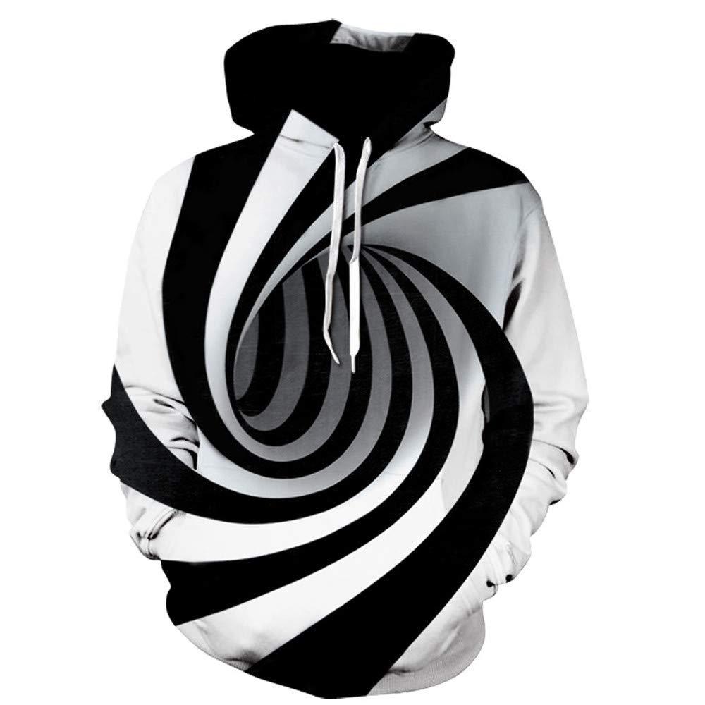 BCDshop Mens Novelty Pullover Sweatshirt Cool 3D Digital Vortex Print Long Sleeve Hooded Tops