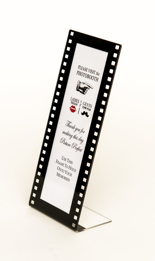 Slanted Photo Booth Frames 36 pieces Film Style with insert for 2x6 Photo Strips Hollywood L style frame