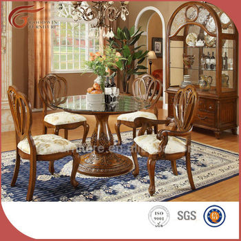Comedor Mesa A19 Vidrio Vidrio Buy Y mesa Venta 4 Sólido Caliente Diseño Redondo Madera Silla De Europeo 80OPnkw