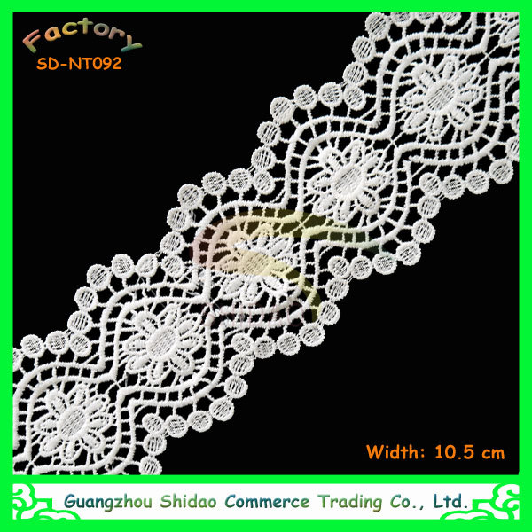 2015 newest crochet water-soluble wide and narrow white cotton milk silk lace trim SDNT092
