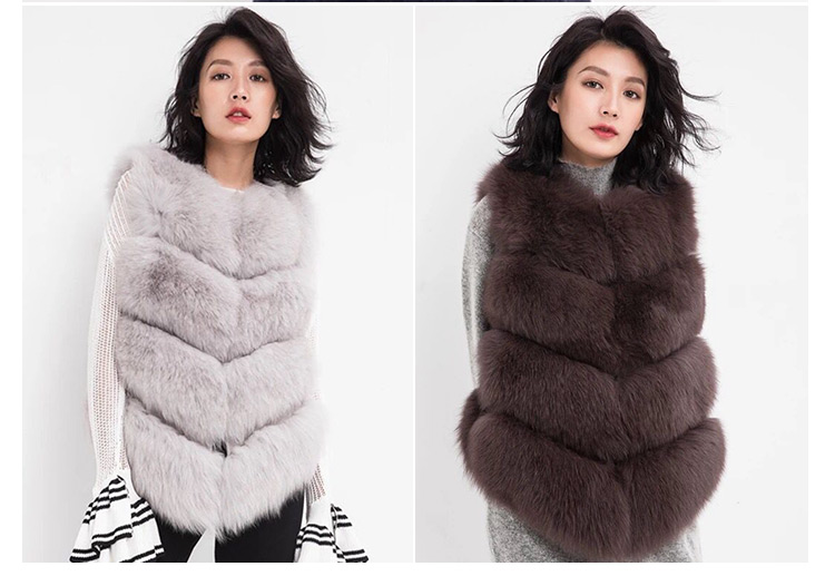 New arrival elegant women light pink real fox fur gilets fur vest