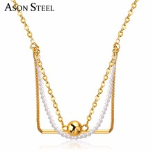 Wedding accessories write pearl beads necklace elegant women pendant necklace