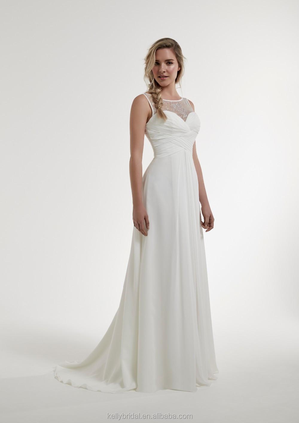 Zm16139 Chiffon Grecian Style Wedding Dresses Pleated Simple High