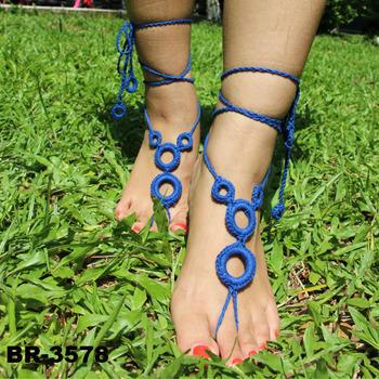 Damen Barfuß Sandalen Häkeln Baumwolle Fußschmuck Fußkettchen