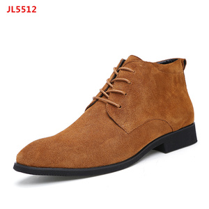 Men Shoes Lace Up Genuine Leather Suede Chukkas Boots with Rubber Sole
