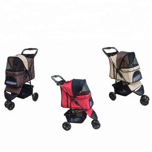 Foldable 3 Wheels Carrier Strolling Cart Four Wheel Pet Stroller Dog Trolley