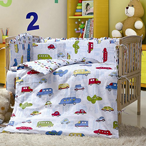 100% Cotton Car Crib Bedding Sets,7 Pieces Baby Crib Bumper With Quilt,Cars printing Boys Crib Bedding Sets,Cot Duvet Bumper Sets,Size 55.1'' x 27.5'' 140 x 70 CM