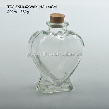 290ml Empty Heart Shaped Glass Bottle With Cork Buy Heart Shaped