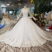 Jancember AHTL108 bohemian like white off the shoulder long tulle appliques sleeves wedding gown simple dress