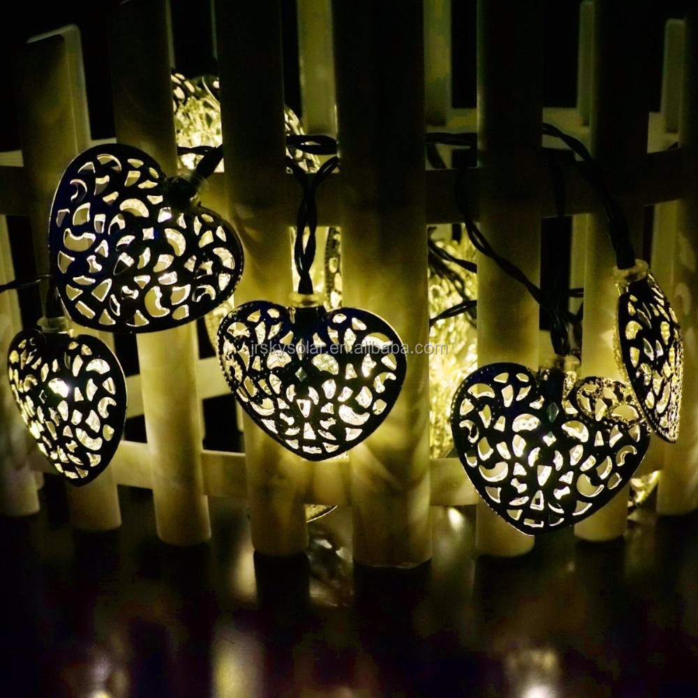 Solar Powered 10 LED Heart String Lights Warm White String Lights for Indoor, Outdoor, Garden, Fence, Patio, Wedding decor