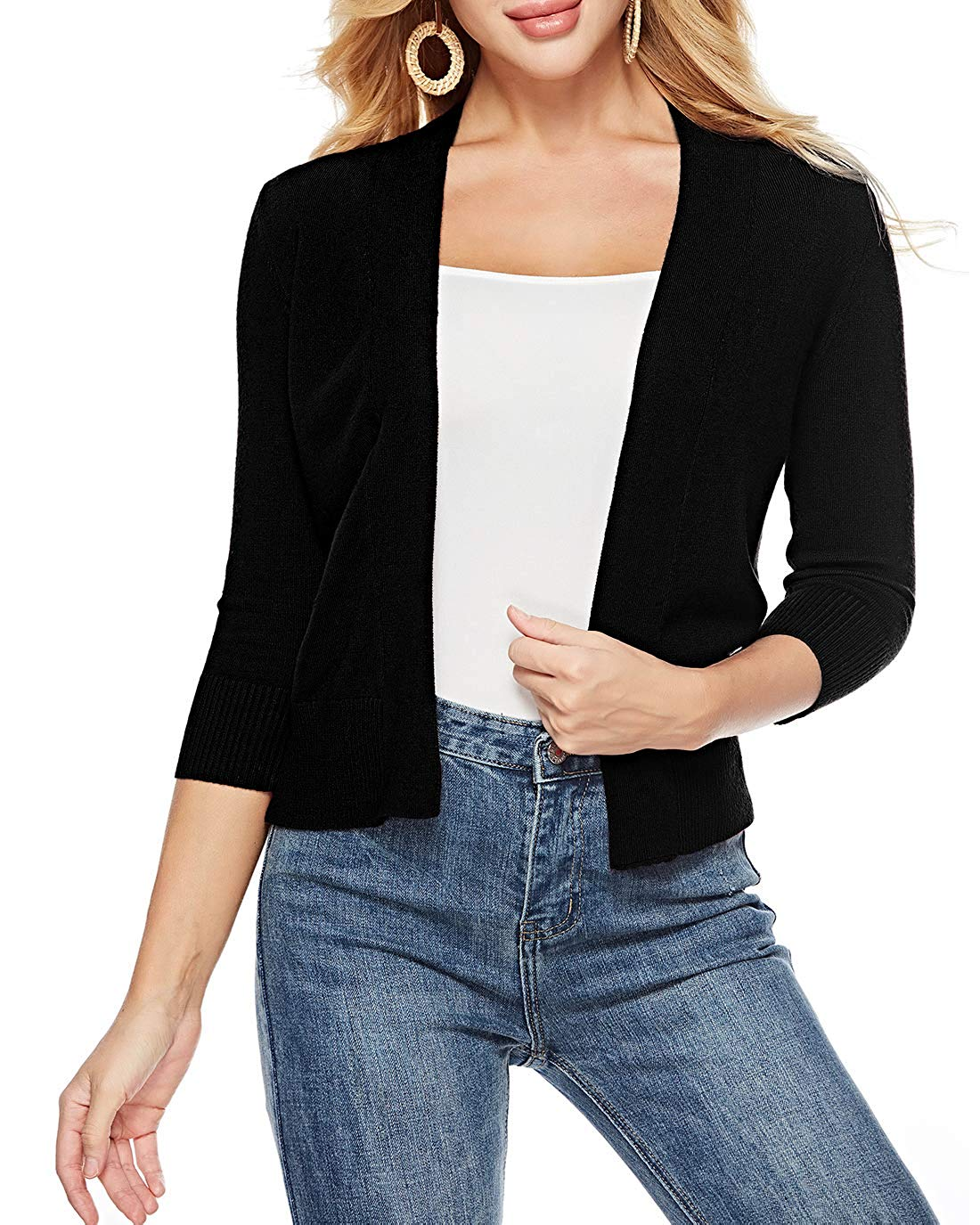 3ebce87ebc Get Quotations · Sarin Mathews Womens 3 4 Sleeve Open Front Cropped Short  Knit Cardigan Sweaters