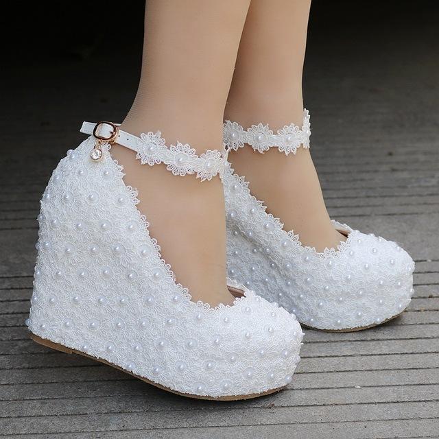 B7821 Plus Size Fashion Lace Wedding Shoes Handmade Bridal Shoes