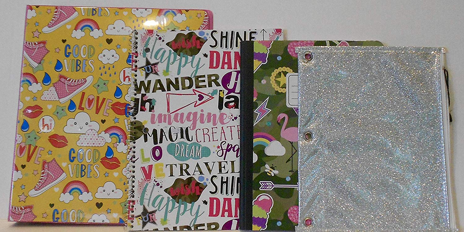 """Good Vibes, Love, Create, Dance, Love, Laugh, Sparkle, Shine"" 1"" Ring Binder, Spiral Notebook, Hardcover Composition Notebook & Silver Glittery Zippered 3-Ring Binder Pouch Bundle - 4 Pieces"