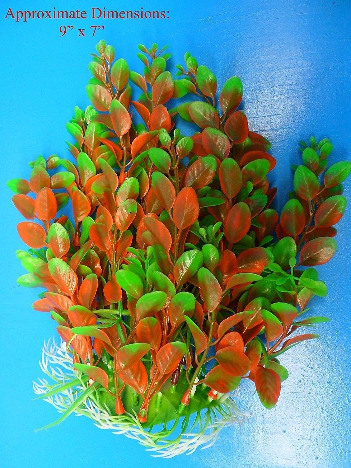 "Azaina_atl AQUARIUM DECORATION - PLASTIC PLANT W HEAVY BASE 97201 9"" H x 7"""