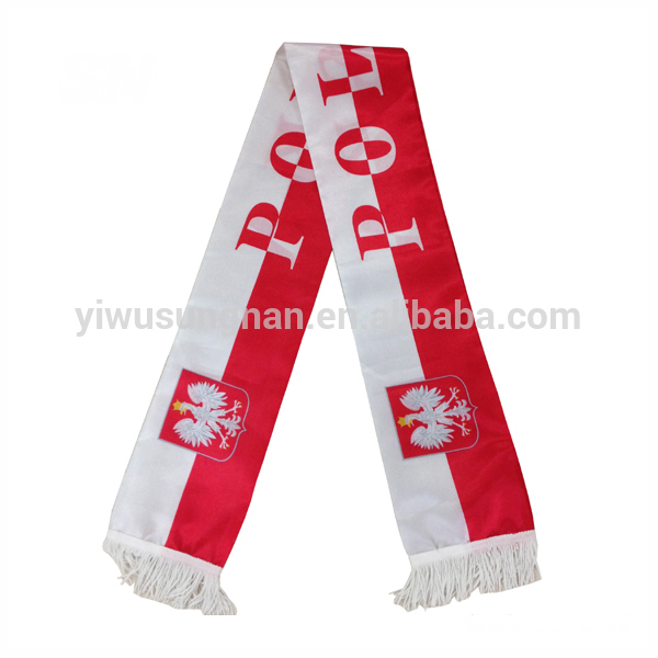 Poland logo Knitted Cheap football fan team Scarf