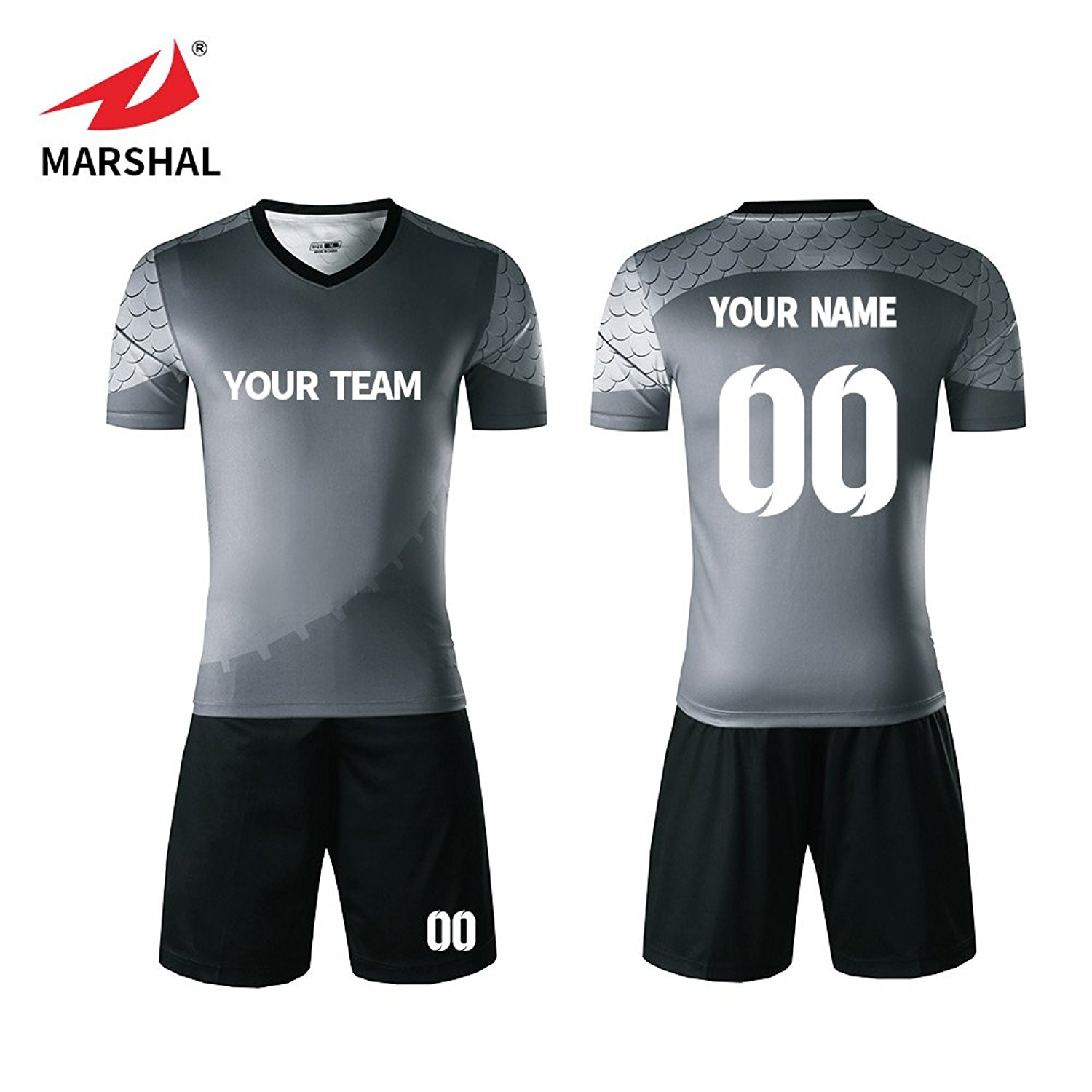 bfe4bfc51 Get Quotations · Marshal Jersey Custom Soccer Jersey Grey Jersey Soccer  Uniforms Custom Team Jersey Numbers, Your Name