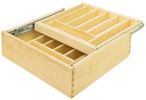Double Cutlery Drawer, baltic birch wood, solid maple silverware dividers, 368x533x106mm