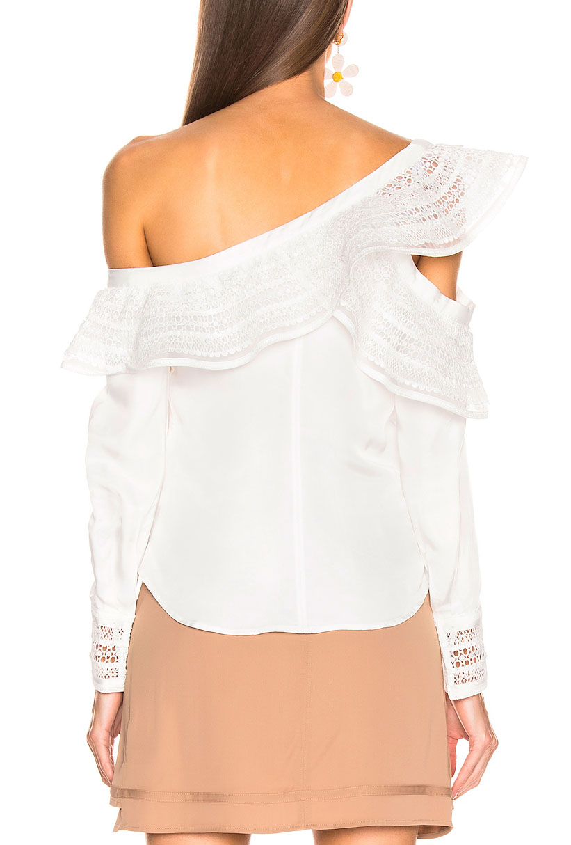 OEM New Fahion Women's Blouse Top Style One Shoulder White Top Women
