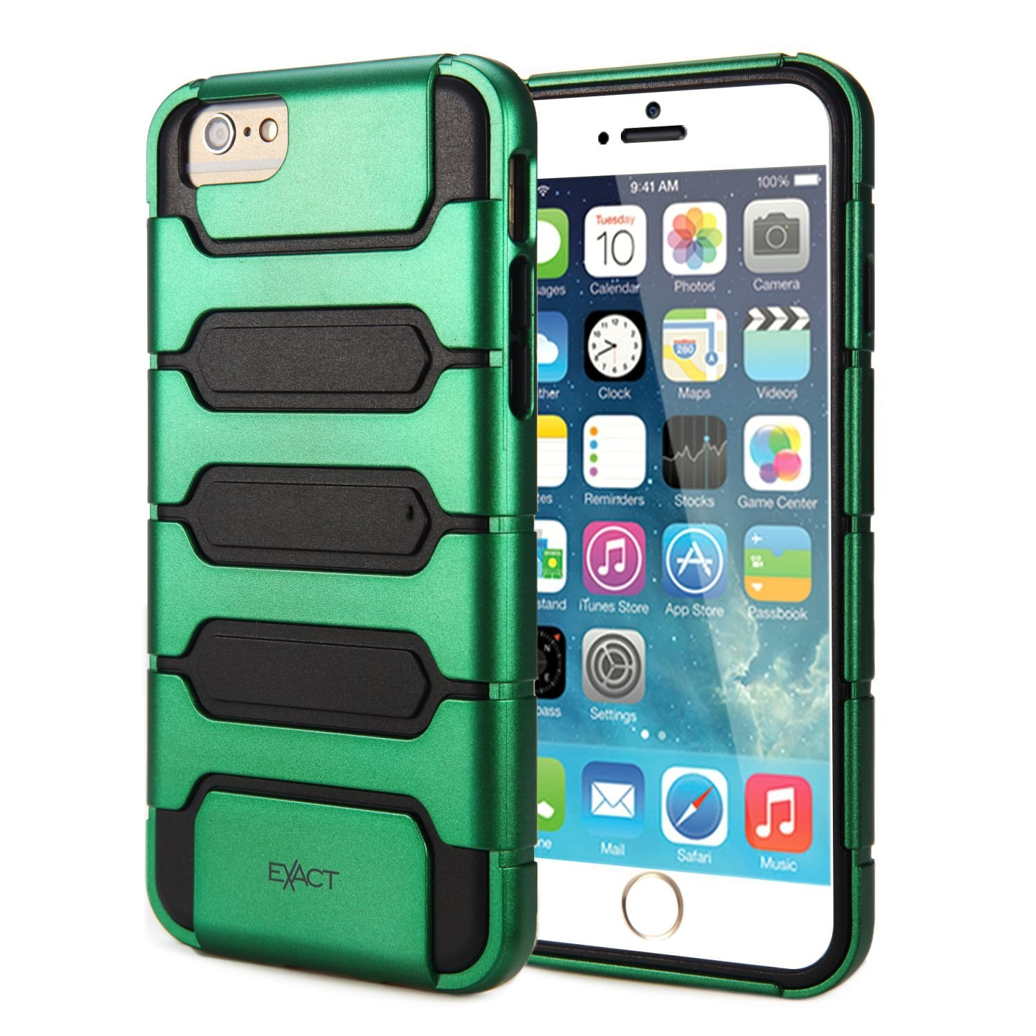 iPhone 6 Plus / iPhone 6S Plus Case - Exact [BUNKER Series] - Protective Hybrid Cover Case for Apple iPhone 6 Plus (2014)/iPhone 6S Plus (2015) Green/Black