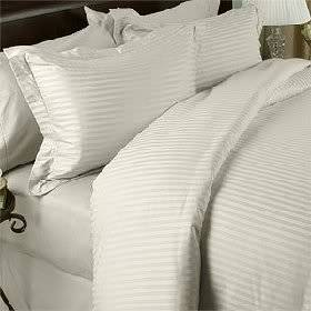 Luxurious SEVEN (7) Piece Set, CREAM Damask Stripe, OLYMPIC QUEEN Size, 4pc BED SHEET SET & 3pc DUVET SET, 1200 Thread Count Ultra Soft Single-Ply 100% Egyptian Cotton, 1200TCSheet & Duvet Set includes Two (2) Shams & TWO (2) Pillow Cases