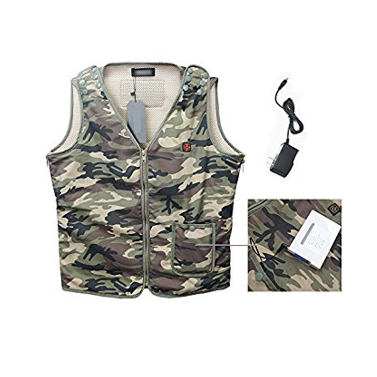 Waterproof Mens Heating Electrical Vest Heated Camouflage Vest