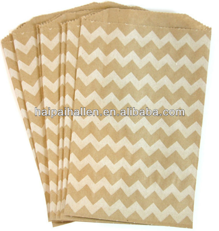 Ivory Cream and white Chevron Treat favors Bags for baked treats