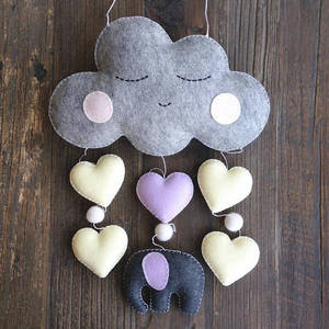Wall Hanging Felt Cloud Elephant and Hearts Baby Cot Mobile