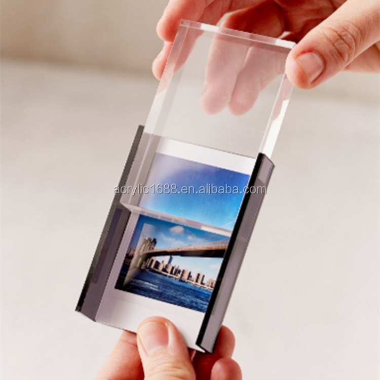 wholesale clear Mini Acrylic picture photo frame/Acrylic Block Photo Frame