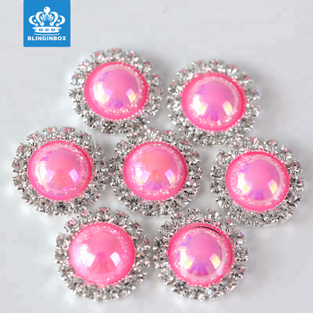 17mm New golden bottom ABS half pearls and glass crystal rhinestone buttons
