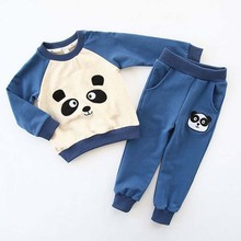 ca20069 children wear 2016 panda pattern cotton kids clothing set