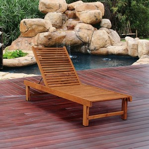 Waterproof and UV resistant beach teak wood sun lounger