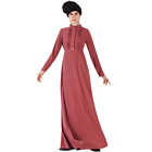Muslim Front Pleat With Beading Button Crepe Design Dress With Belt Islamic Women Clothing