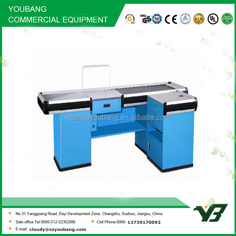 Hot sell good cheap blue color supermarket checkout counter with conveyor belt (YB-H08)