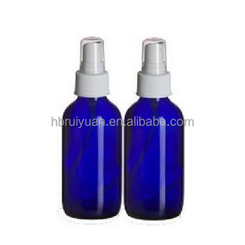 NEW 4 oz. Cobalt Blue Boston Round GLASS Spray Bottle with White Fine Mist Sprayer