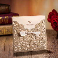 arabic customized blank insert card laser cut wedding invitation card CW5011