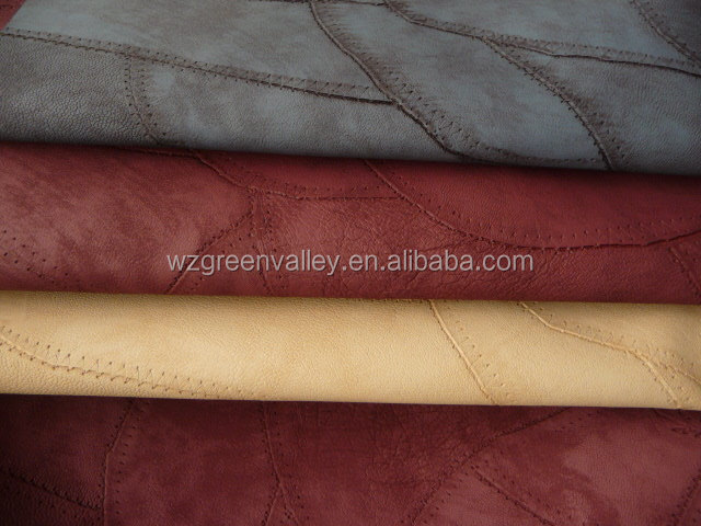 Hot sell new arrival handling soft wear-resisting emboss synthetic leather for ladies handbag
