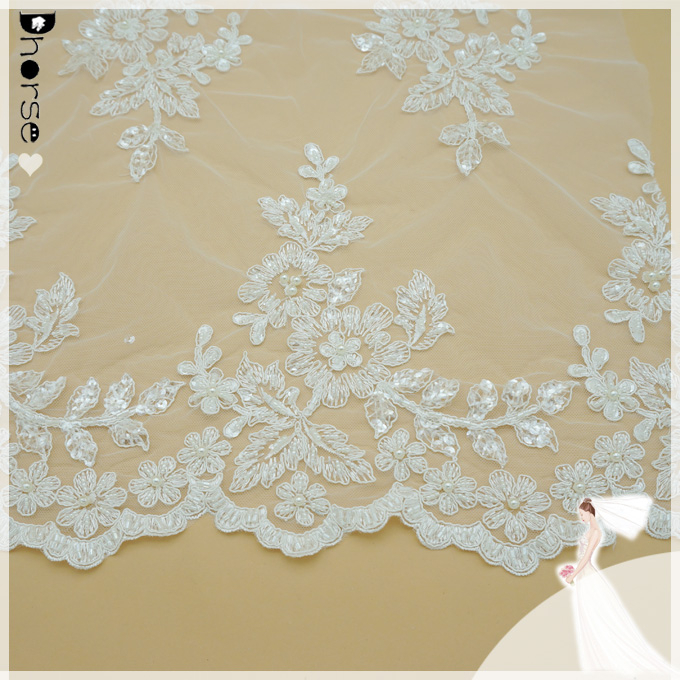 pre-embroidered embroidered flower on tulle with ivory pearls finished border lace fabric for veil or bridal gown DH-BF559
