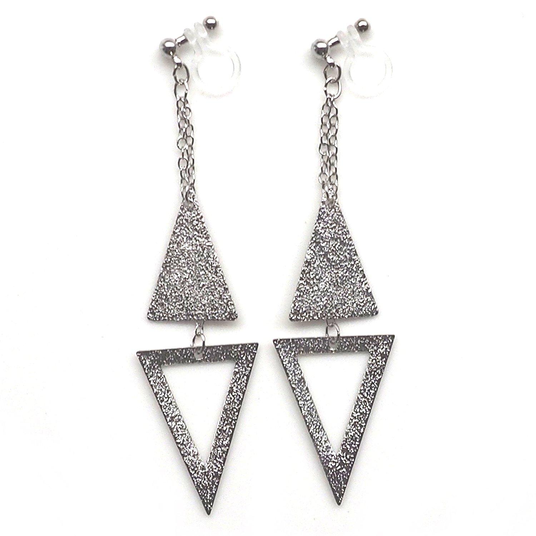 Miyabi Grace Women's Long Chain Triangle Invisible Clip On Earrings Dangle Hoops Silver tone
