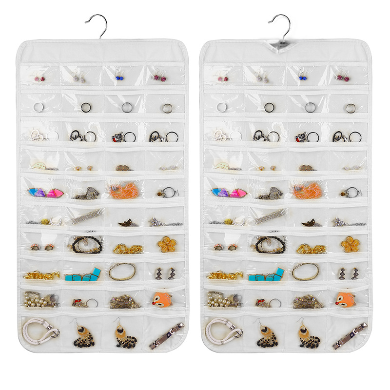 2019 Hot Hanging Collapsible Jewelry Organizer Bag Double Sided Storage 80 Pockets