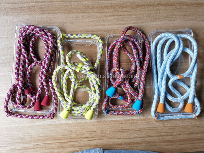 Amazon Best Seller Colorful Mobile Phone Case with Strap/Cord/lanyard/Necklace/Rope/Metal  With big Rings For iphone 11 6/7/8/x