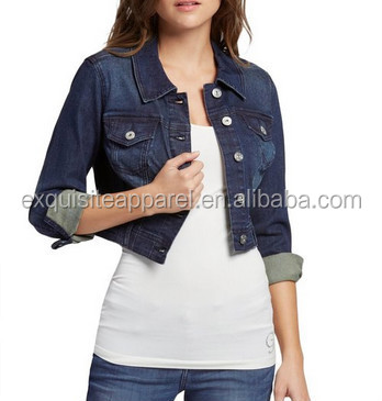 Custom Cropped Ladies Denim Jacket Girls Jean Jacket Wholesale Women