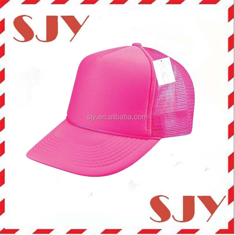 Wholesale snapback hats neon color blank trucker hat