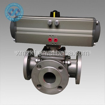 3 Way Ball Valve with 180 degree turn pneumatic actuator / 180 degree Pneumatic three way Ball Valve