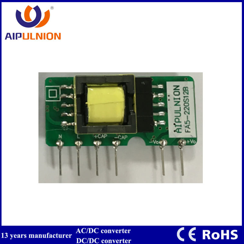 Pcb Mount 39*25*22mm Ac Dc 5w Converter Switching Power Supply 110v