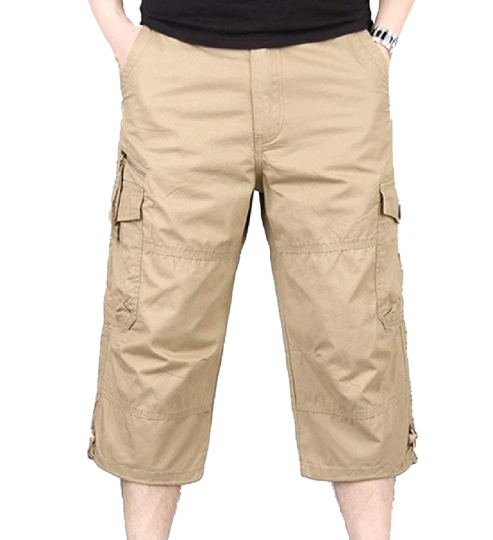 YUNY Mens Work Wear Straight Military Comfort Baggy Cargo Pants Khaki 33