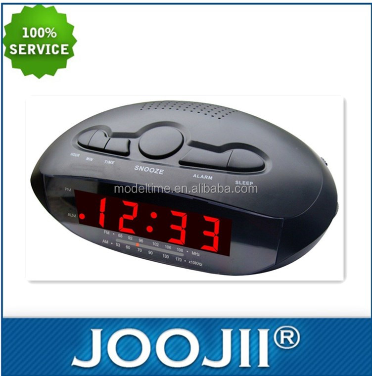 Red Led Screen Alarm Clock Rdio with 2 USB Port