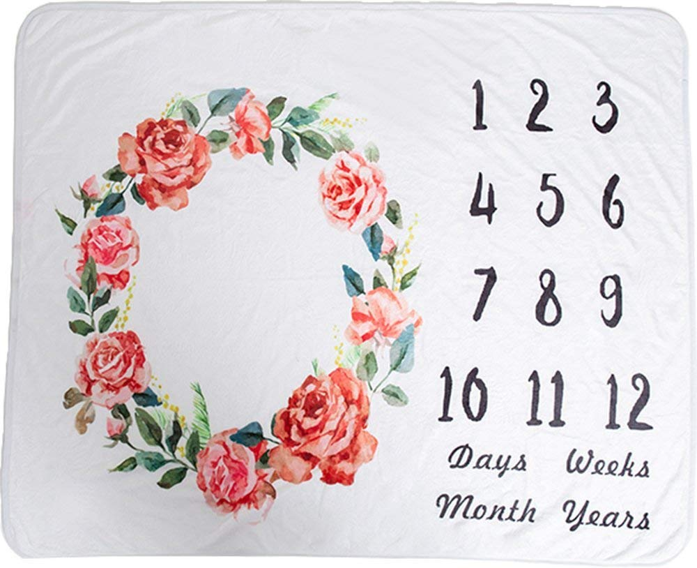 Floral Baby Milestone Blanket by Simple Love - Photography Baby Shower Gifts - Newborn Unisex Girls and Boys with Monthly Age with Premium Soft Fleece - Portable for Holiday Travels - Organic Rose